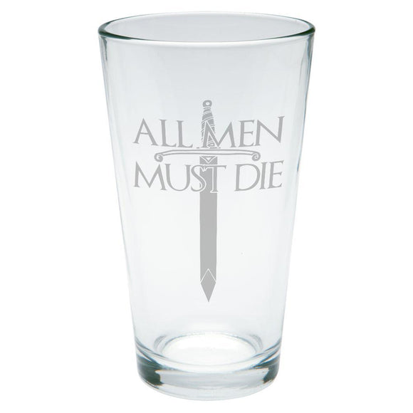 All Men Must Die Medieval Sword Etched Pint Glass