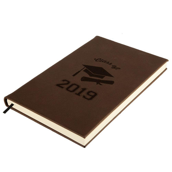 Graduation - Class of 2019 Cap and Diploma Brown Leatherette Journal