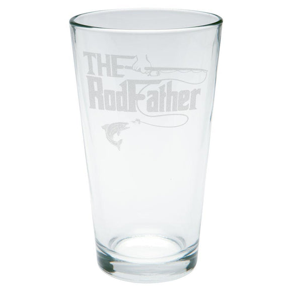 Father's Day Rod Father Fishing Etched Pint Glass