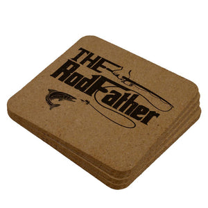 Father's Day Rod Father Fishing Square Cork Coaster (Set of 4)