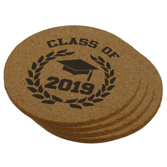 Graduation - Class of 2019 Laurel Round Cork Coaster (Set of 4)
