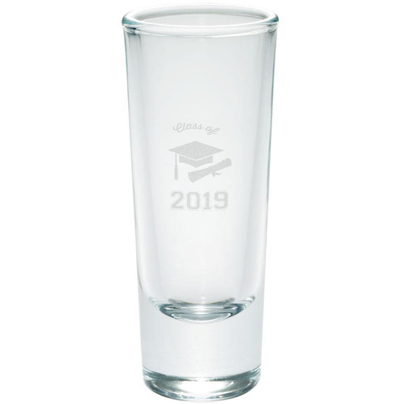 Graduation - Class of 2019 Cap and Diploma Etched Shot Glass Shooter