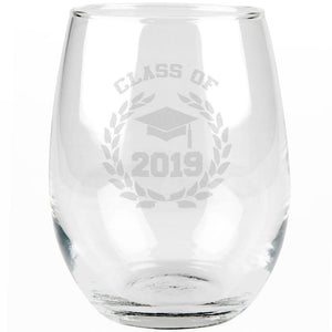 Graduation - Class of 2019 Laurel Etched Stemless Wine Glass
