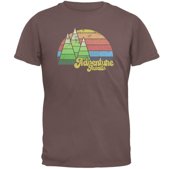 Retro Adventure Awaits Hiking Camping Mens T Shirt