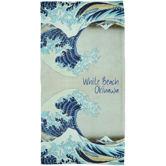 White Beach Okinawa Tsunami Surf Board All Over Beach Towel