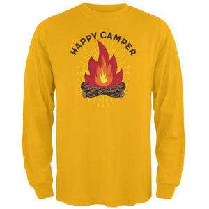 Hiking Happy Camper Campfire Mens Long Sleeve T Shirt
