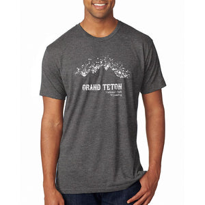 National Parks Grand Teton Mountain Splatter Mens Soft T Shirt