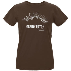 National Parks Grand Teton Mountain Splatter Womens Organic T Shirt