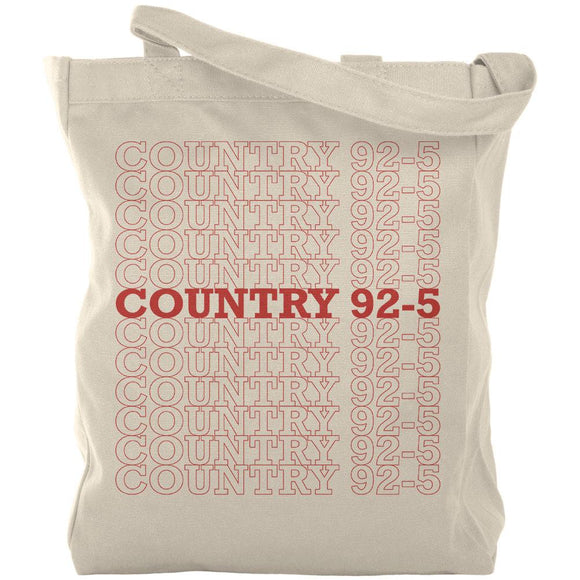 iHeartRadio Country 92-5 Stacked Canvas Tote Bag Natural Standard One Size