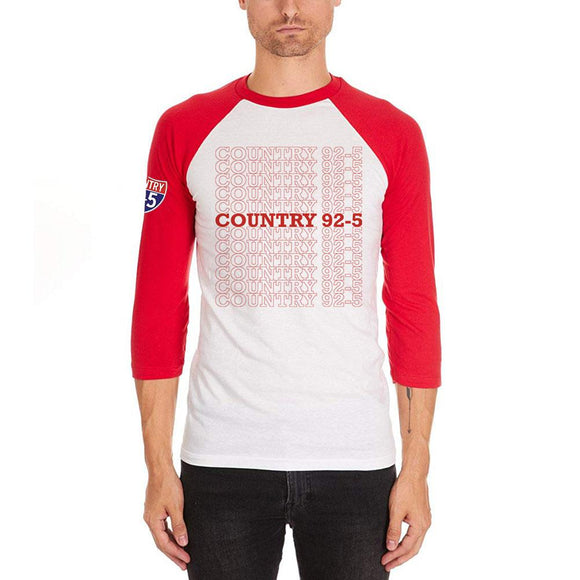 iHeartRadio Country 92-5 Stacked Mens Soft Raglan T-Shirt White-Red