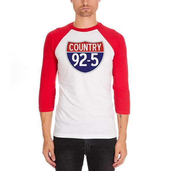 iHeartRadio Country 92-5 Logo Mens Soft Raglan T-Shirt White-Red