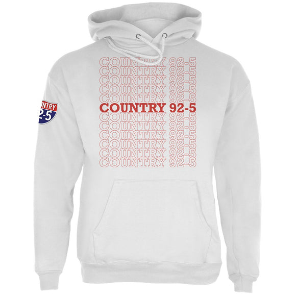 iHeartRadio Country 92-5 Stacked Mens Hoodie White