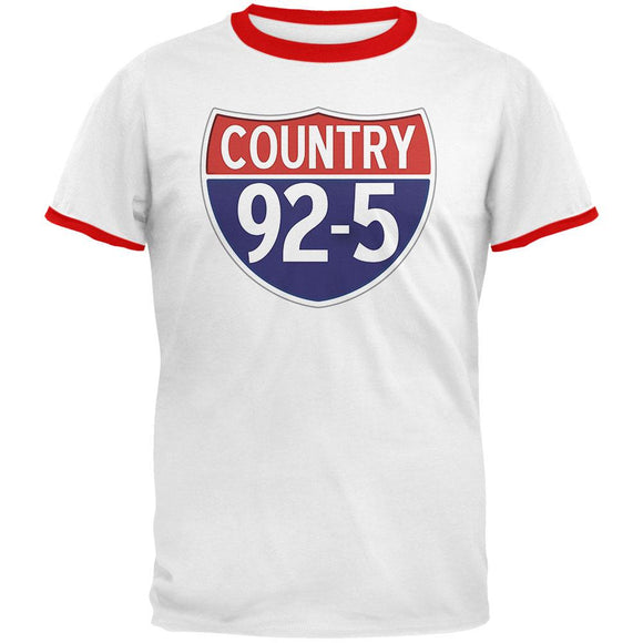 iHeartRadio Country 92-5 Logo Mens Ringer T Shirt White-Red