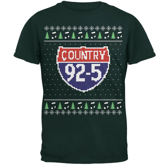 iHeartRadio Country 92-5 Ugly Christmas Sweater Mens Soft T-Shirt Forest Green