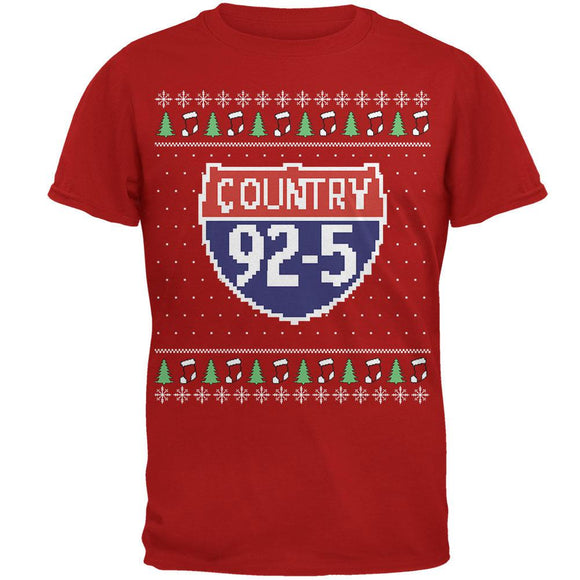 iHeartRadio Country 92-5 Ugly Christmas Sweater Mens Soft T-Shirt Red