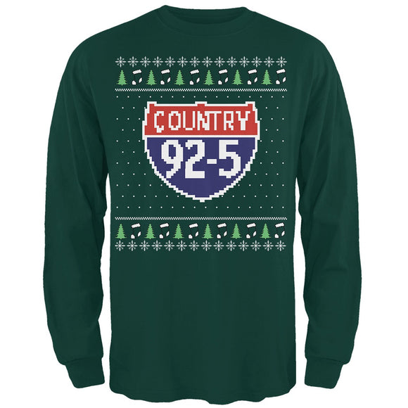 iHeartRadio Country 92-5 Ugly Christmas Sweater Mens Soft Long Sleeve T-Shirt Forest Green