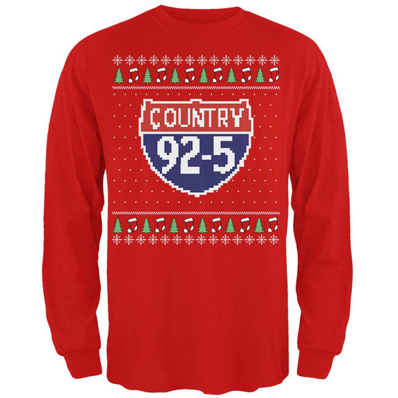 iHeartRadio Country 92-5 Ugly Christmas Sweater Mens Soft Long Sleeve T-Shirt Red
