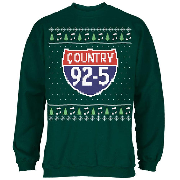 iHeartRadio Country 92-5 Ugly Christmas Sweater Mens Sweatshirt Forest Green