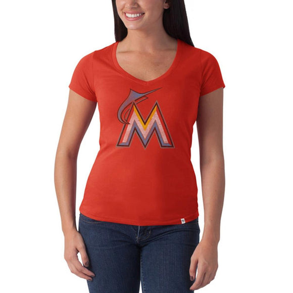 Miami Marlins - Large M Logo Flanker Orange Juniors Premium V-Neck T-Shirt