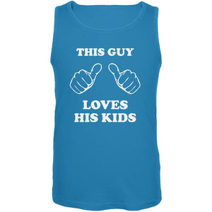Father's Day This Guy Loves His Kids Turquoise Adult Tank Top