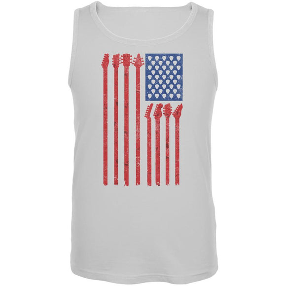 4th Of July Stars and Strings Guitar American Flag White Adult Tank Top