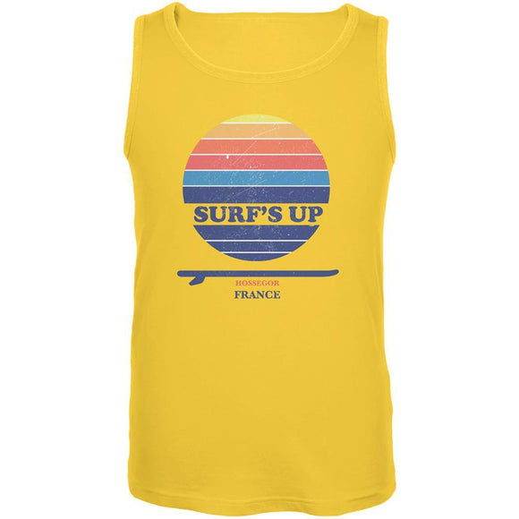 Surf's Up Hossegor Beach Yellow Adult Tank Top