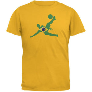 World Cup Brazil Soccer Kick Flag Silhouette Gold Adult T-Shirt