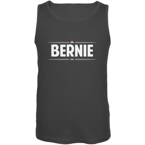 Election 2020 - Bernie Thin Stripes Charcoal Grey Adult Tank Top