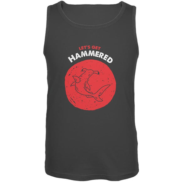 Let's Get Hammered Shark Charcoal Grey Adult Tank Top