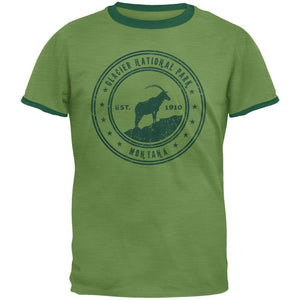 Glacier National Park Vintage Heather Green Men's Ringer T-Shirt