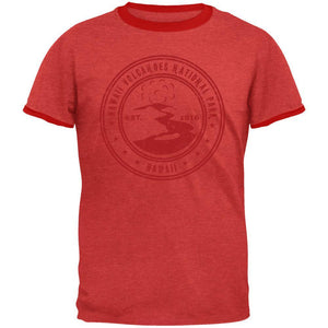 Hawaii Volcanoes National Park Vintage Heather Red Men's Ringer T-Shirt