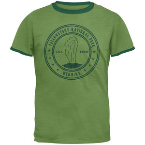 Yellowstone National Park Vintage Heather Green Men's Ringer T-Shirt