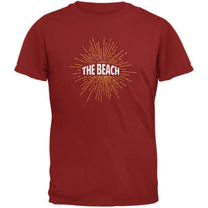 Let's Go To The Beach Vintage Sun Rays Cardinal Red Adult T-Shirt