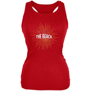 Let's Go To The Beach Vintage Sun Rays Red Juniors Soft Tank Top