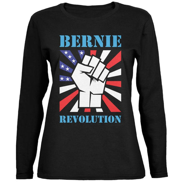 Election 2020 Bernie Sanders Raised Fist Black Womens Long Sleeve T-Shirt