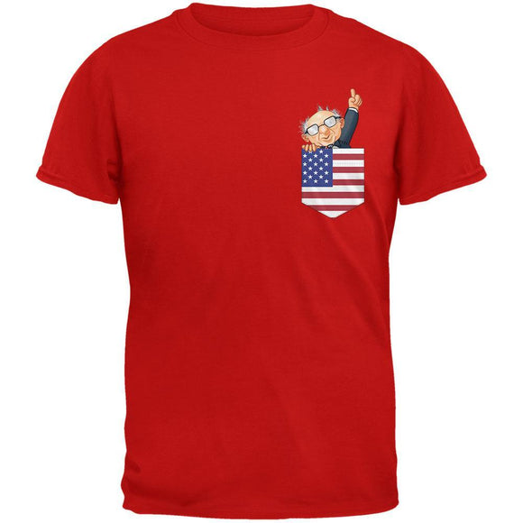 Pocket Pet Bernie Sanders Red Adult T-Shirt