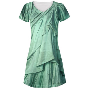 Statue of Liberty Lady Costume Juniors V-Neck Beach Cover-Up Dress
