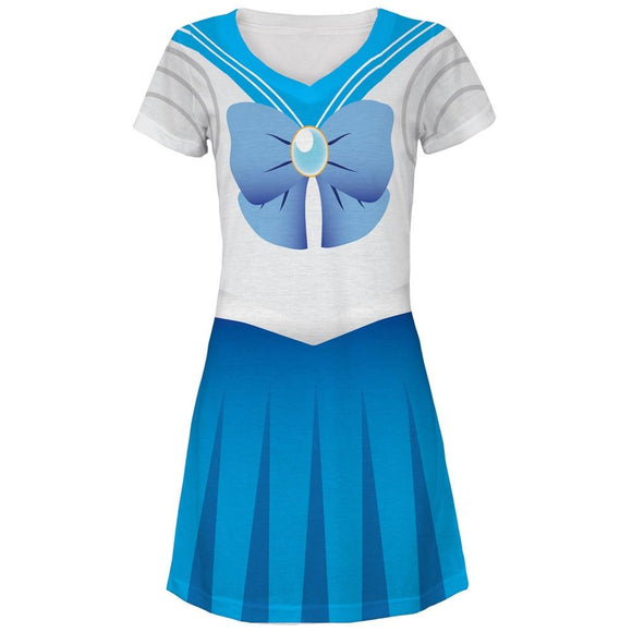 Anime Mercury Sailor Costume Juniors V-Neck Beach Cover-Up Dress