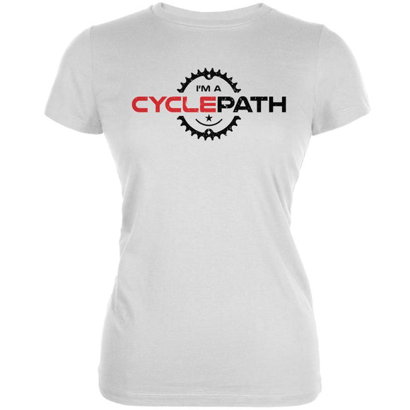 Biking I'm A Cyclepath White Juniors Soft T-Shirt