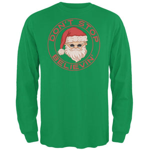 Christmas Don't Stop Believin' Irish Green Adult Long Sleeve T-Shirt