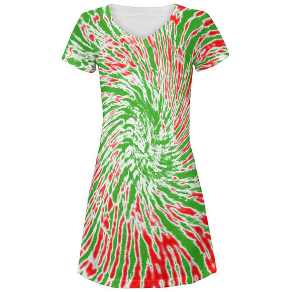 Christmas Tie Dye Red Green Juniors V-Neck Beach Cover-Up Dress