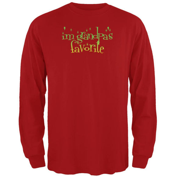 Christmas I'm Grandpa's Favorite Red Adult Long Sleeve T-Shirt