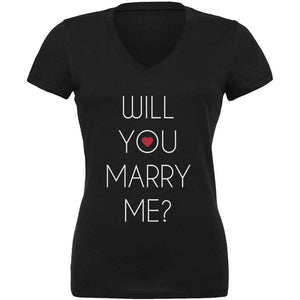 Valentine's Day Will You Marry Me? Black Juniors V-Neck T-Shirt