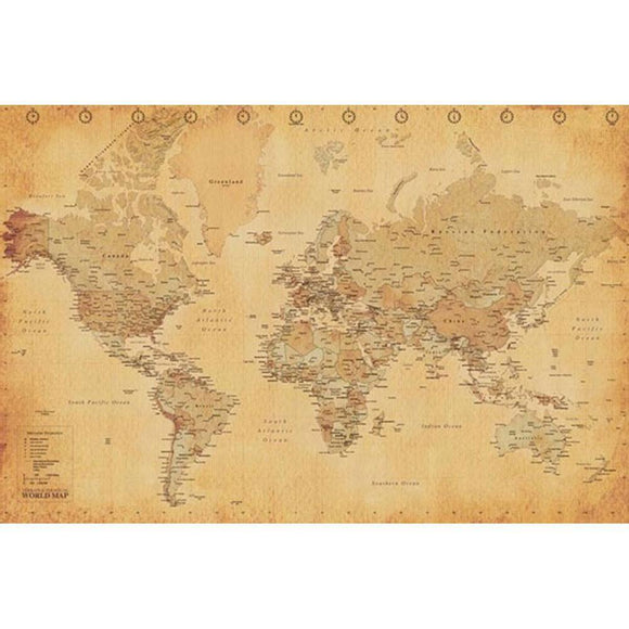 Antique World Map 24x36 Standard Wall Art Poster