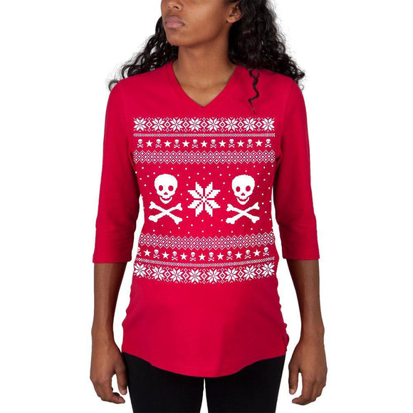 Skull & Crossbones Ugly Christmas Sweater Red Maternity 3/4 sleeve T-shirt