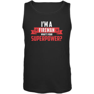 I'm A Fireman What's Your Superpower Black Adult Tank Top