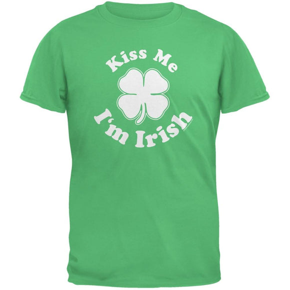 St. Patricks Day Kiss Me Im Irish Green Adult T-Shirt