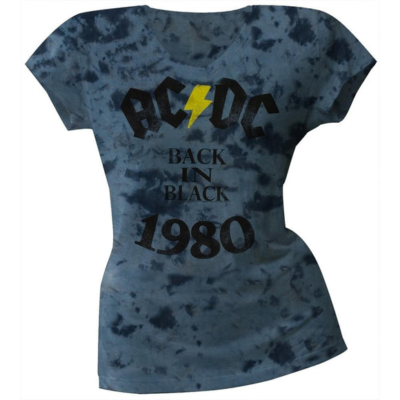 AC/DC - Back In Black Juniors V-Neck Tie Dye T-Shirt