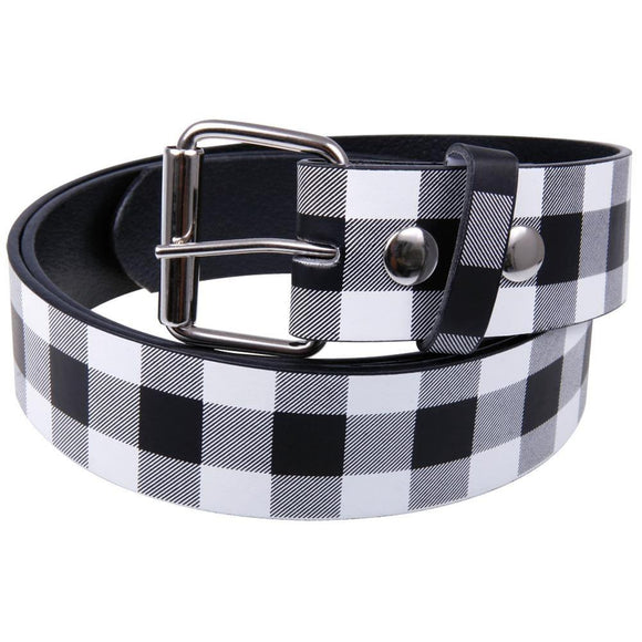 White Plaid Leather Belt