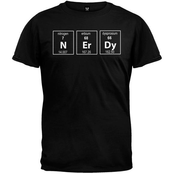 Nerdy Periodic Table Black T-Shirt